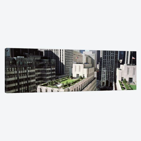 Rooftop Garden, Rockefeller Center, New York City, New York, USA 3-Piece Canvas #PIM4185} by Panoramic Images Canvas Print