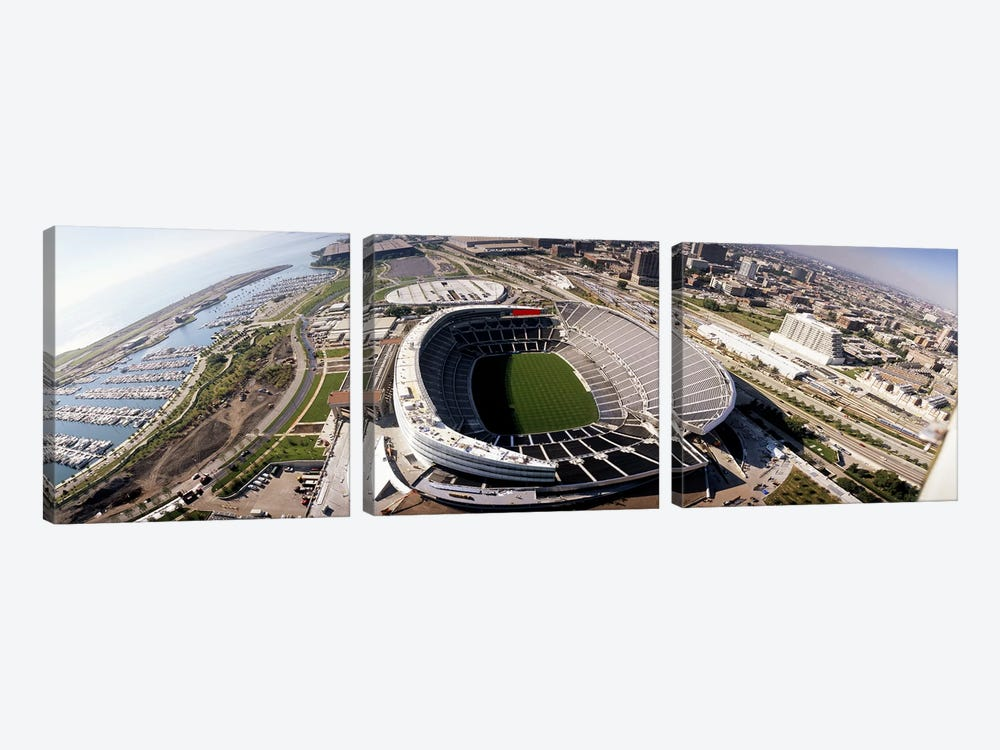 Aerial view of a stadium, Soldier Field, Chicago, Illinois, USA by Panoramic Images 3-piece Canvas Art Print