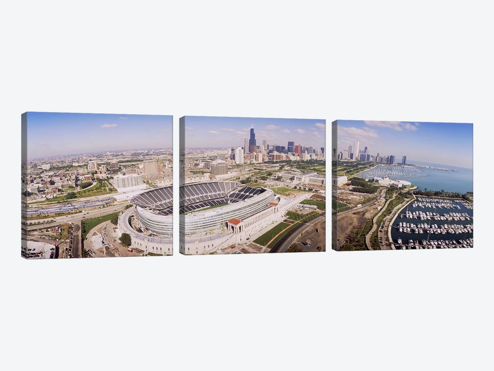 Aerial view of a stadium, Soldier Field, Chicago, Illinois, USA #2 3-piece Canvas Art