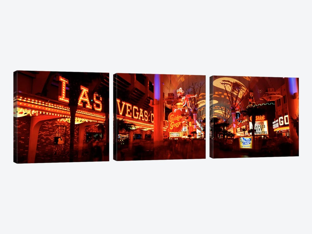 Fremont Street Experience Las Vegas NV USA #5 by Panoramic Images 3-piece Canvas Art Print