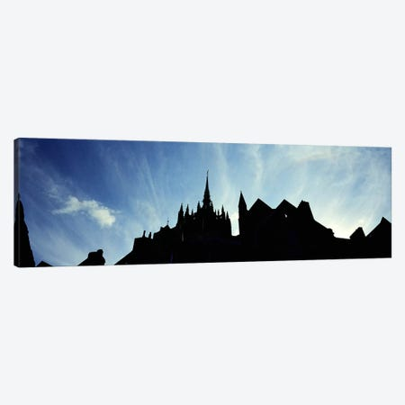 France, Normandy, Mont St. Michel, Silhouette of a Church Canvas Print #PIM4201} by Panoramic Images Art Print