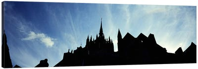 France, Normandy, Mont St. Michel, Silhouette of a Church Canvas Print #PIM4201
