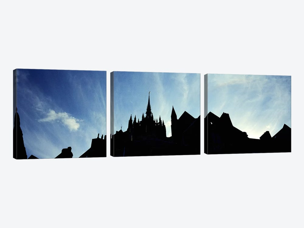 France, Normandy, Mont St. Michel, Silhouette of a Church by Panoramic Images 3-piece Canvas Artwork