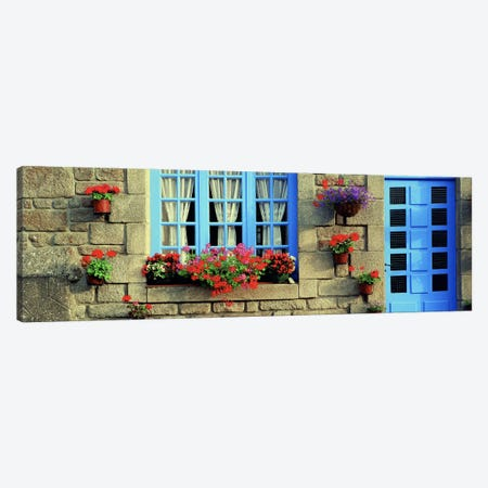 Flower Laden Façade, Locronan, Brittany, France Canvas Print #PIM4202} by Panoramic Images Art Print