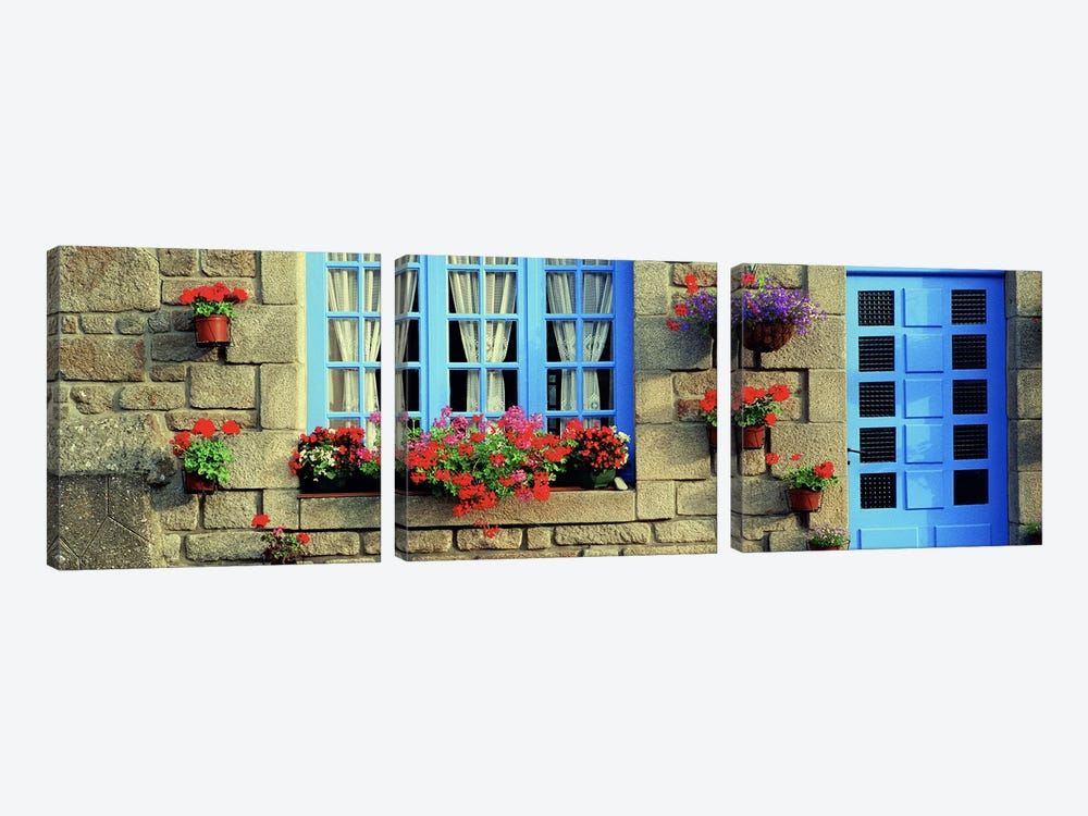Flower Laden Façade, Locronan, Brittany, France by Panoramic Images 3-piece Canvas Art Print