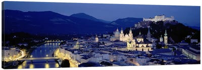 High Angle View Of Buildings In A City, Salzburg, Austria Canvas Print #PIM4209