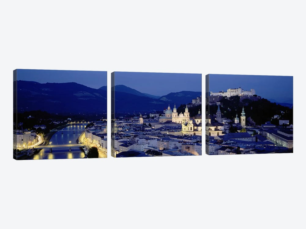 High Angle View Of Buildings In A City, Salzburg, Austria by Panoramic Images 3-piece Canvas Artwork
