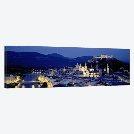 High Angle View Of Buildings In A City, Salzburg, Austria 3-Piece Canvas #PIM4209} by Panoramic Images Canvas Art Print