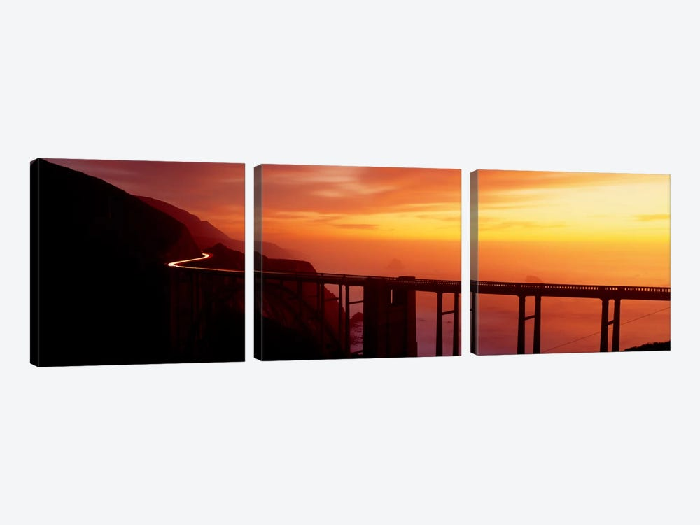 Dusk Hwy 1 w/ Bixby Bridge Big Sur CA USA by Panoramic Images 3-piece Art Print
