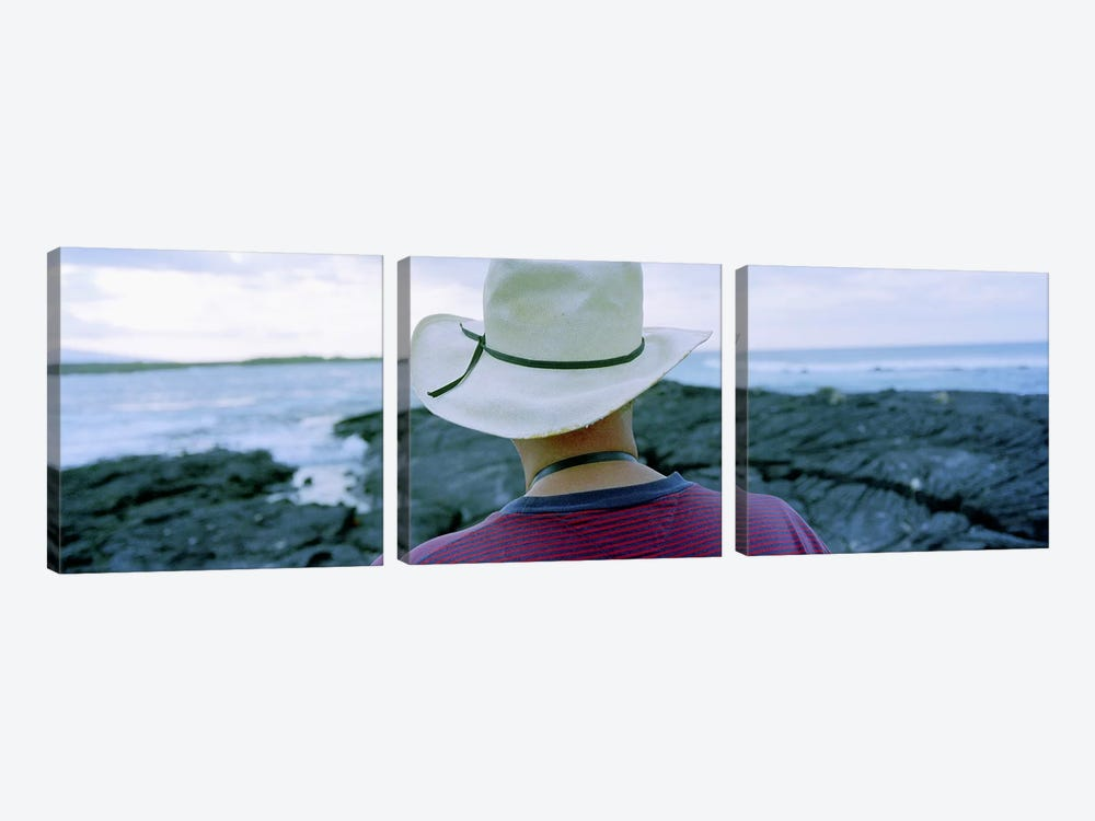 Man with Straw Hat Galapagos Islands Ecuador by Panoramic Images 3-piece Canvas Print