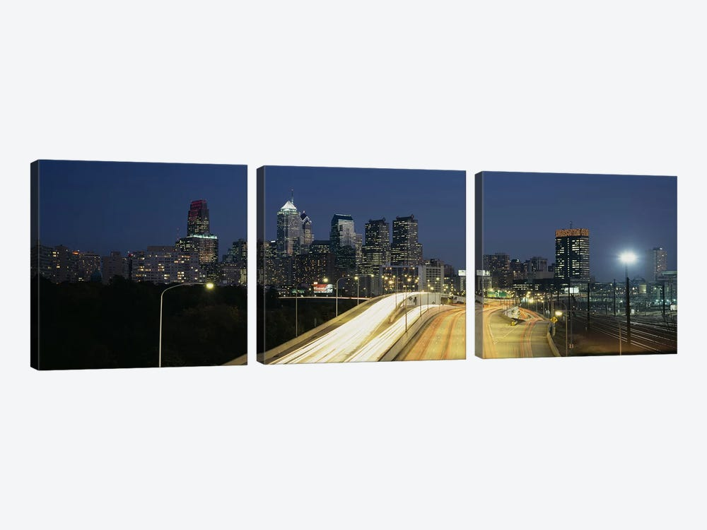 Traffic moving on a roadPhiladelphia, Pennsylvania, USA by Panoramic Images 3-piece Canvas Wall Art