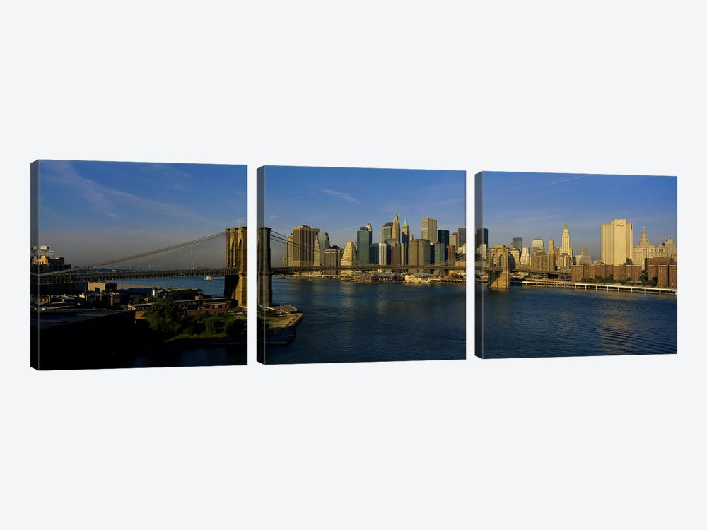 Bridge Across A RiverBrooklyn Bridge, NYC, New York City, New York State, USA by Panoramic Images 3-piece Art Print