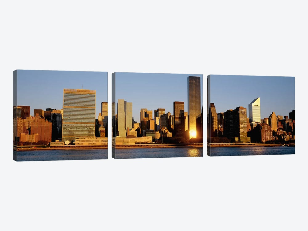 Skyline, Manhattan, New York State, USA by Panoramic Images 3-piece Canvas Wall Art