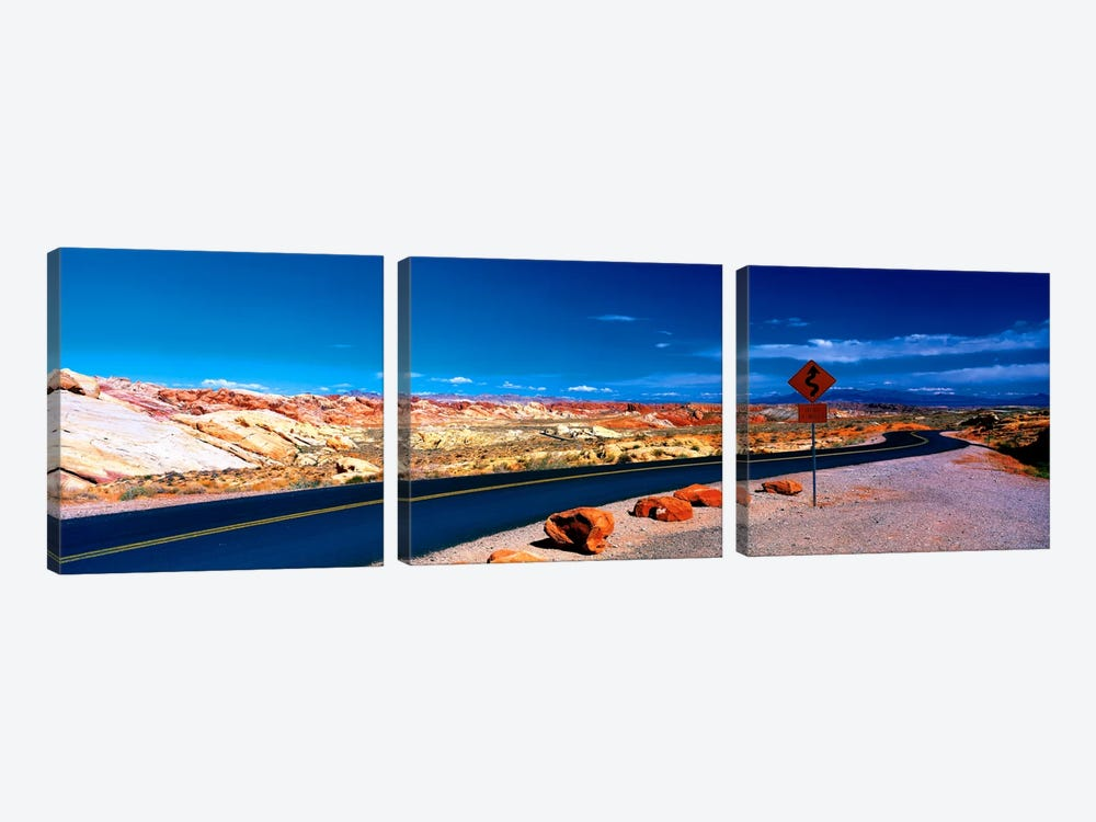 Road Valley of Fire State Park Overton NV by Panoramic Images 3-piece Canvas Wall Art