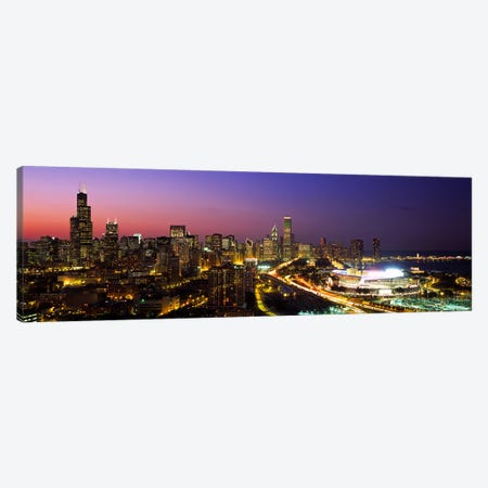 Downtown Skyline At Night, Chicago, Cook County, Illinois, USA Canvas Print #PIM4261} by Panoramic Images Canvas Print