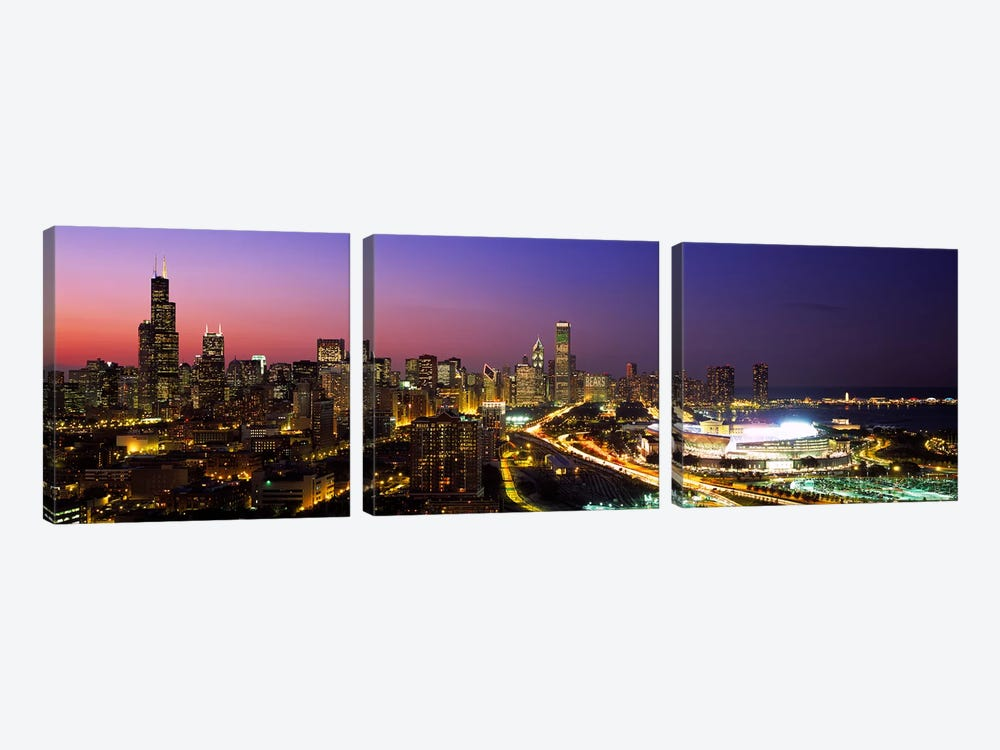 Downtown Skyline At Night, Chicago, Cook County, Illinois, USA by Panoramic Images 3-piece Canvas Wall Art