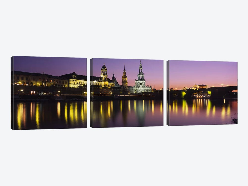 Innere Altstadt At Night, Dresden, Saxony, Germany 3-piece Art Print