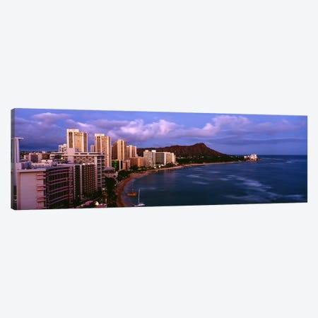 High Angle View Of Buildings On The Beach, Waikiki Beach, Oahu, Honolulu, Hawaii, USA Canvas Print #PIM4269} by Panoramic Images Art Print
