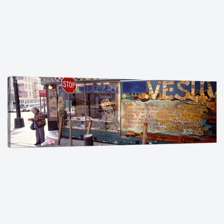 USA, California, San Francisco, Little Italy, Senior man standing outside a bar Canvas Print #PIM4274} by Panoramic Images Canvas Print