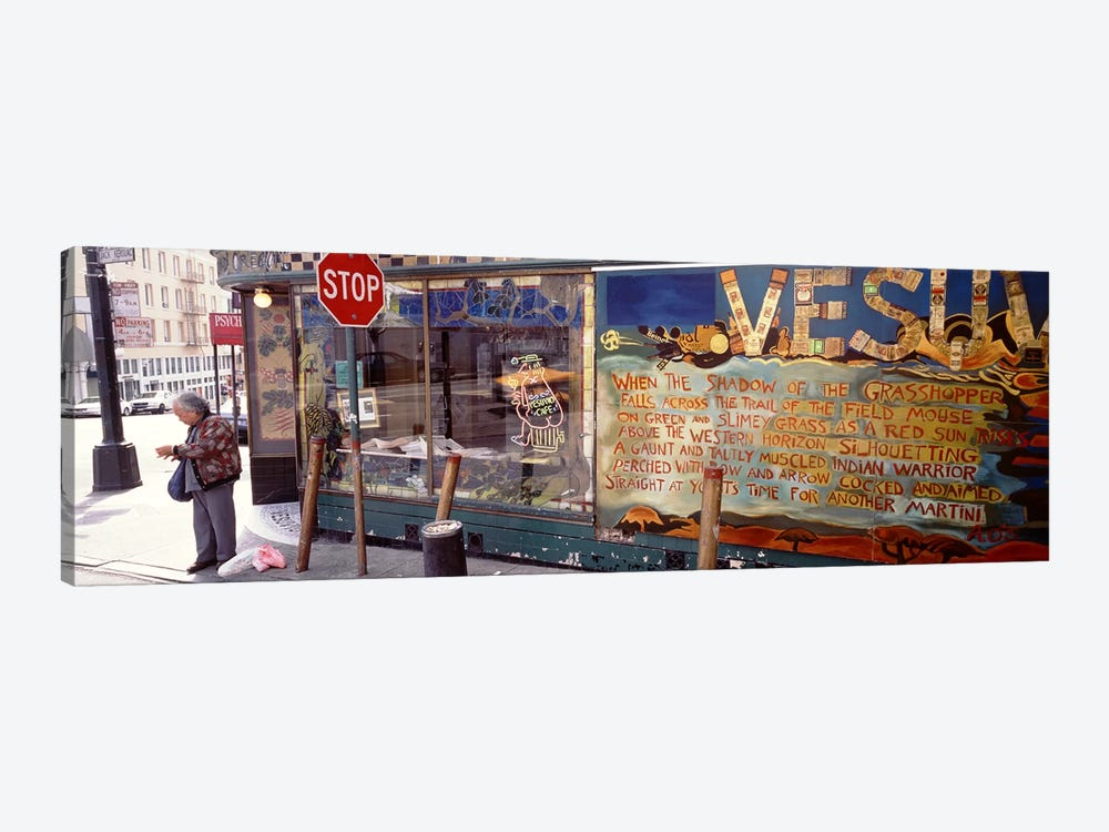 USA, California, San Francisco, Little Italy, Senior man standing outside a bar by Panoramic Images 1-piece Canvas Artwork