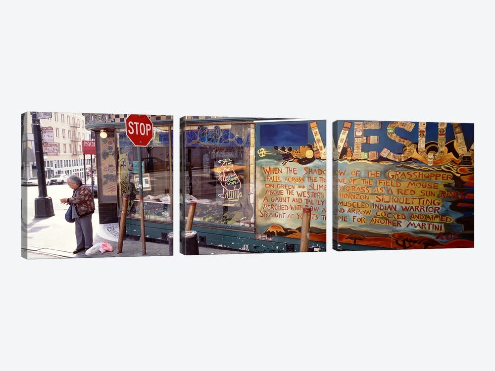 USA, California, San Francisco, Little Italy, Senior man standing outside a bar by Panoramic Images 3-piece Canvas Art