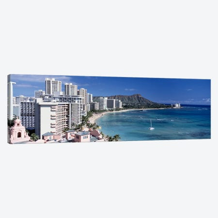 Buildings at the waterfront, Waikiki Beach, Honolulu, Oahu, Maui, Hawaii, USA Canvas Print #PIM4276} by Panoramic Images Canvas Art Print