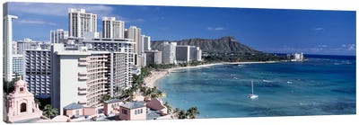 Buildings at the waterfront, Waikiki Beach, Honolulu, Oahu, Maui, Hawaii, USA Canvas Art Print