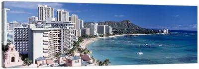 Buildings at the waterfront, Waikiki Beach, Honolulu, Oahu, Maui, Hawaii, USA Canvas Print #PIM4276