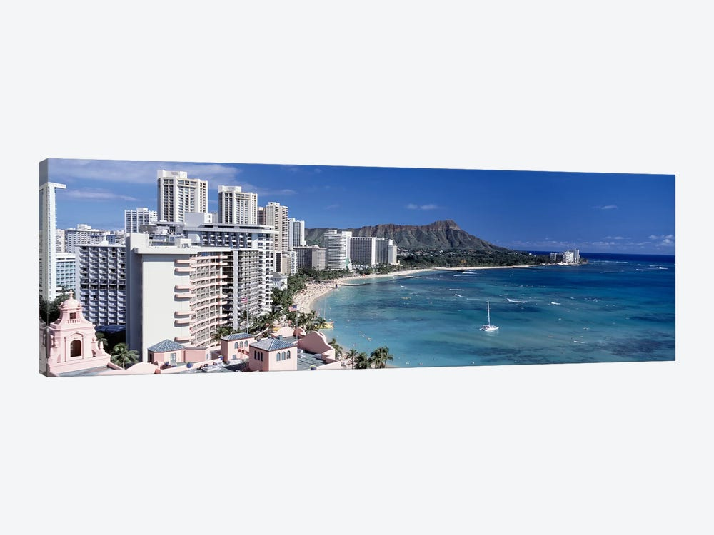 Buildings at the waterfront, Waikiki Beach, Honolulu, Oahu, Maui, Hawaii, USA by Panoramic Images 1-piece Canvas Art
