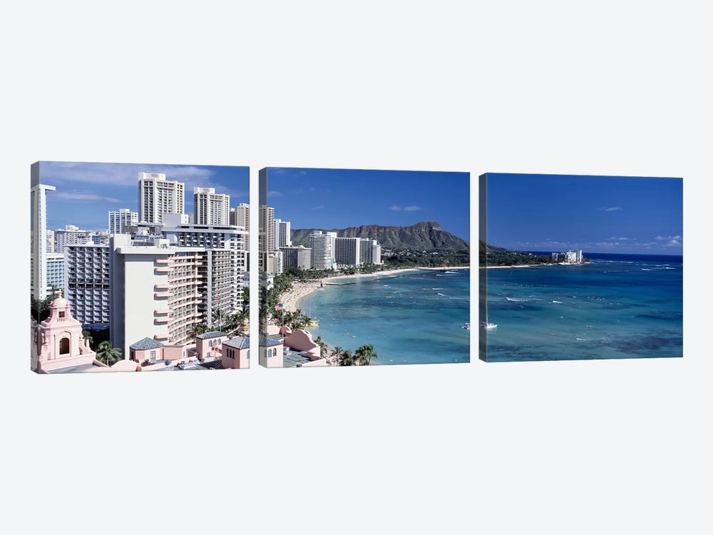 Buildings at the waterfront, Waikiki Beach, Honolulu, Oahu, Maui, Hawaii, USA by Panoramic Images 3-piece Canvas Artwork