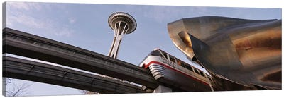 Low Angle View Of The Monorail And Space Needle, Seattle, Washington State, USA Canvas Print #PIM4282