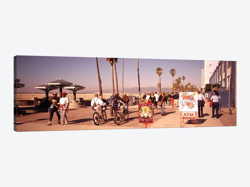 People Walking On The Sidewalk, Venice, Los Angeles, California, USA by Panoramic Images 1-piece Canvas Wall Art