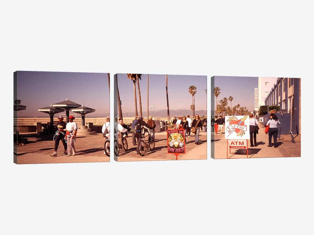 People Walking On The Sidewalk, Venice, Los Angeles, California, USA by Panoramic Images 3-piece Canvas Art