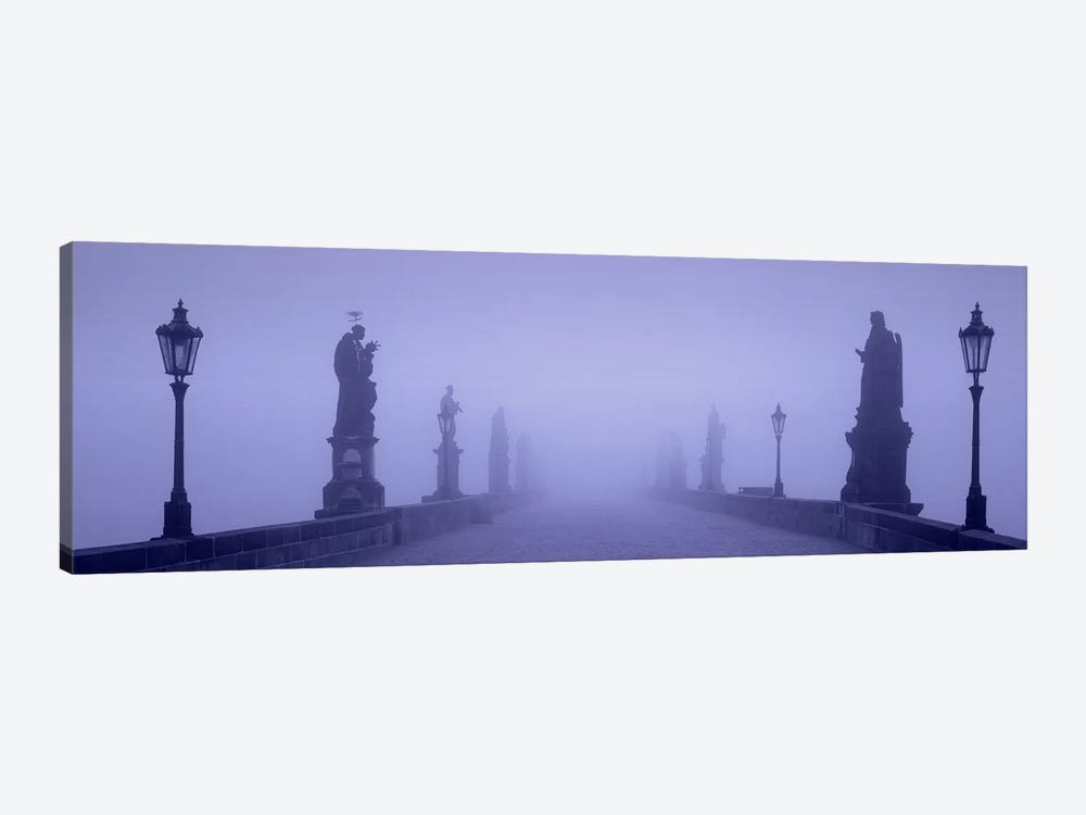 Thick Fog Over Charles Bridge, Prague, Czech Republic by Panoramic Images 1-piece Canvas Wall Art