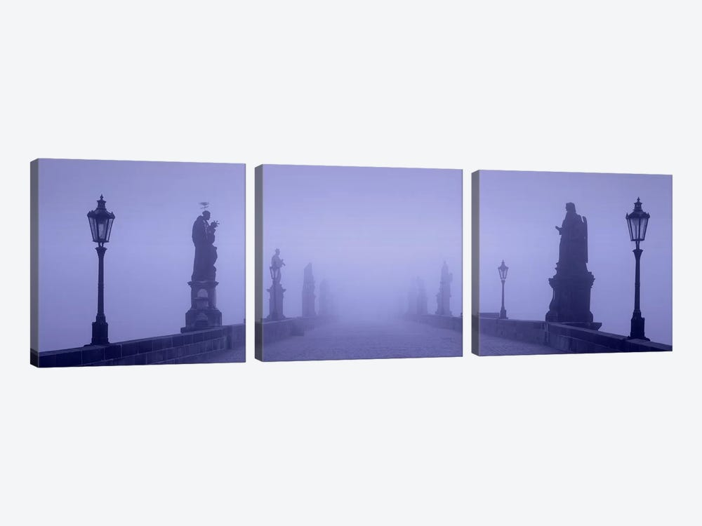 Thick Fog Over Charles Bridge, Prague, Czech Republic by Panoramic Images 3-piece Canvas Wall Art