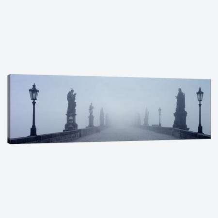 Charles Bridge in Fog Prague Czech Republic Canvas Print #PIM4290} by Panoramic Images Canvas Wall Art
