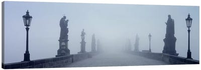 Charles Bridge in Fog Prague Czech Republic Canvas Art Print
