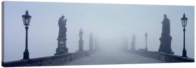 Charles Bridge in Fog Prague Czech Republic Canvas Print #PIM4290