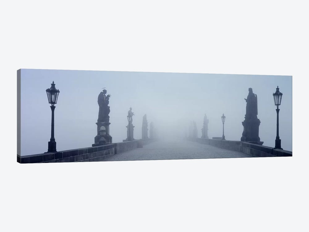 Charles Bridge in Fog Prague Czech Republic by Panoramic Images 1-piece Canvas Artwork