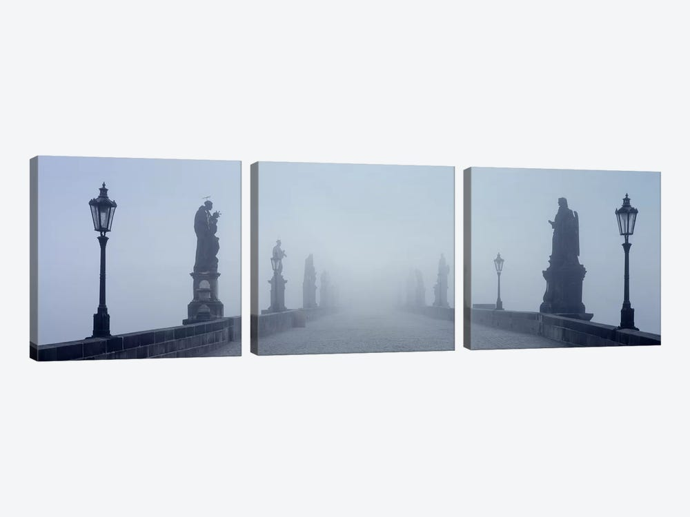 Charles Bridge in Fog Prague Czech Republic by Panoramic Images 3-piece Canvas Artwork