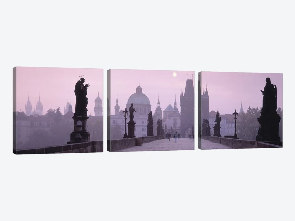 Charles Bridge And The Spires Of Old Town, Prague, Czech Republic by Panoramic Images 3-piece Canvas Print