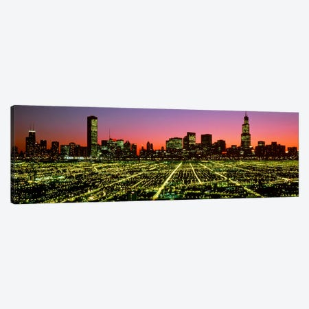 USA, Illinois, Chicago, High angle view of the city at night Canvas Print #PIM4296} by Panoramic Images Canvas Art Print