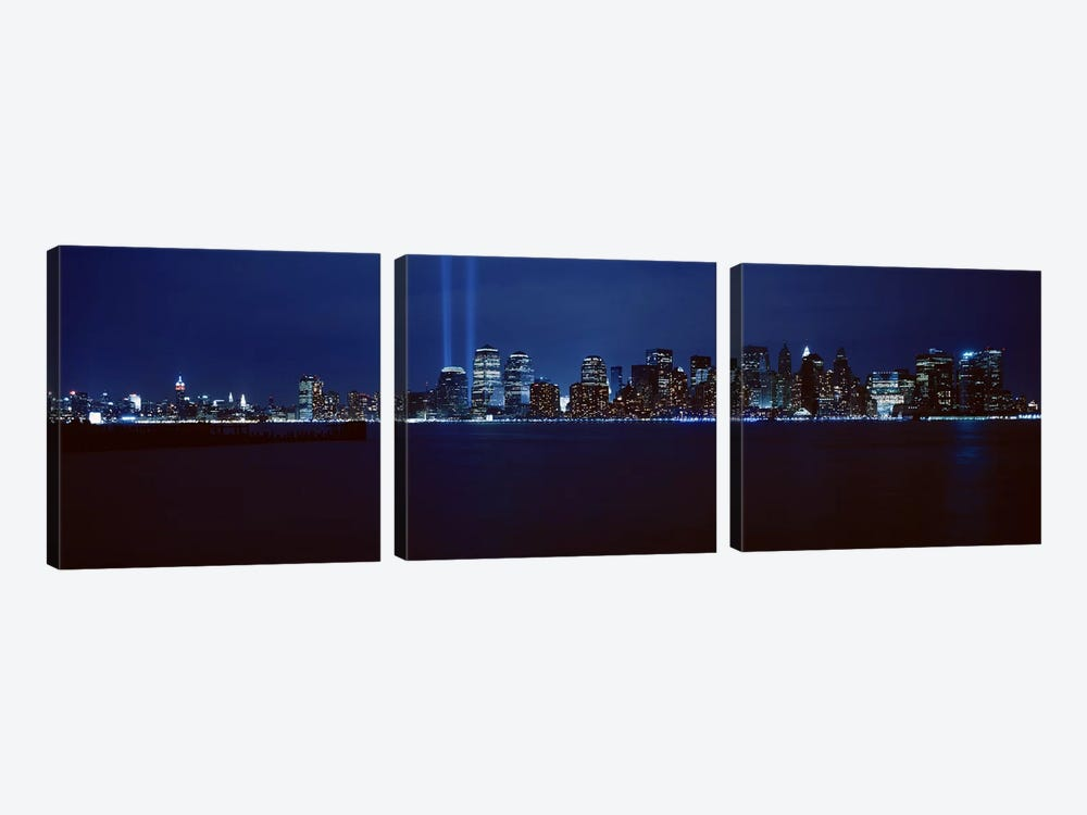 Downtown Skyline At Night, Lower Manhattan, New York City, New York, USA 3-piece Canvas Print