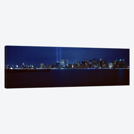 Downtown Skyline At Night, Lower Manhattan, New York City, New York, USA 3-Piece Canvas #PIM4297} by Panoramic Images Art Print