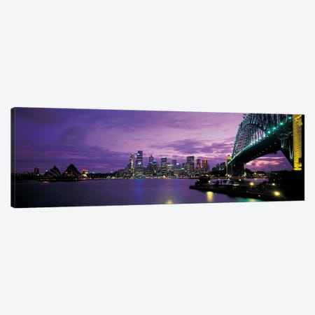Sydney Harbor At Night, Sydney, New South Wales, Commonwealth Of Australia Canvas Print #PIM4299} by Panoramic Images Canvas Wall Art