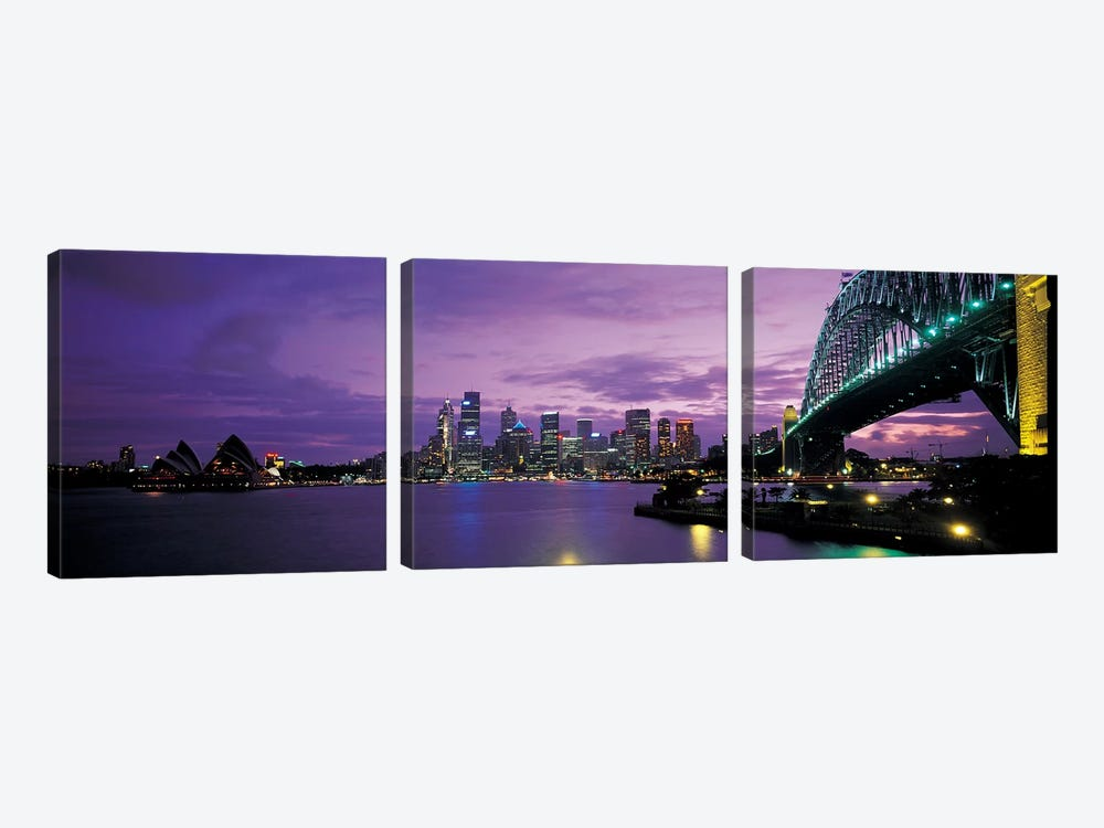 Sydney Harbor At Night, Sydney, New South Wales, Commonwealth Of Australia by Panoramic Images 3-piece Canvas Print