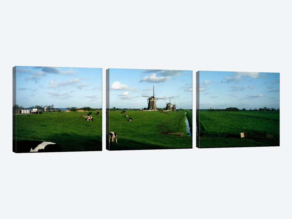 Windmills, Netherlands by Panoramic Images 3-piece Canvas Art