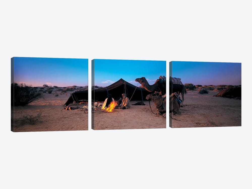 Bedouin Camp At Dusk, Sahara Desert, Tunisia, Africa by Panoramic Images 3-piece Canvas Artwork