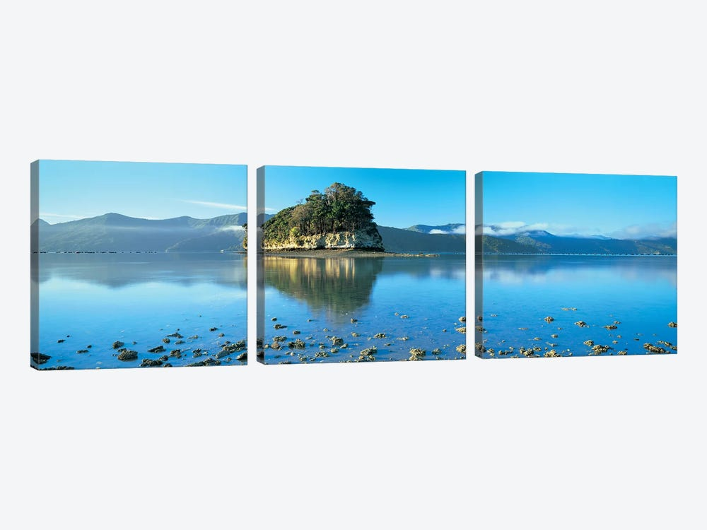 Wooded Island, Marlborough Sounds, South Island, New Zealand 3-piece Canvas Print