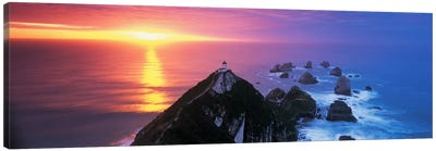 SunsetNugget Point Lighthouse, South Island, New Zealand Canvas Print #PIM4310